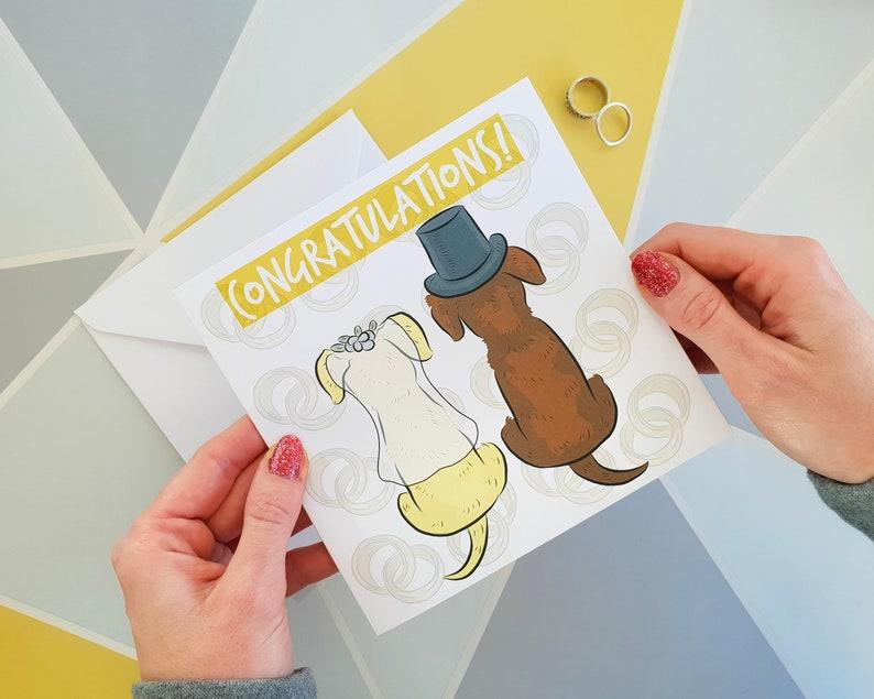 dog card bride and groom happy couple Cute greetings card Wedding card wedding day card anniversary card congratulations card