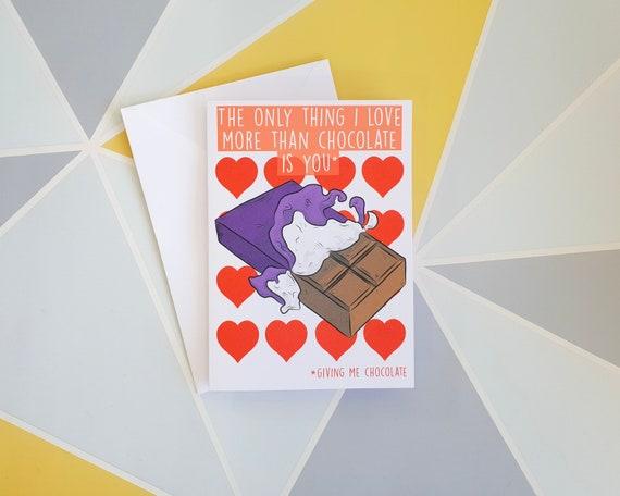Iltk Calendario.Funny Valentines Card Funny Love Card Chocolate Lover I Love You More Anniversary Card Humourous Card Boyfriend Love Card Husband
