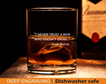 I never trust a man that doesn't drink Wall Quote JOHN WAYNE