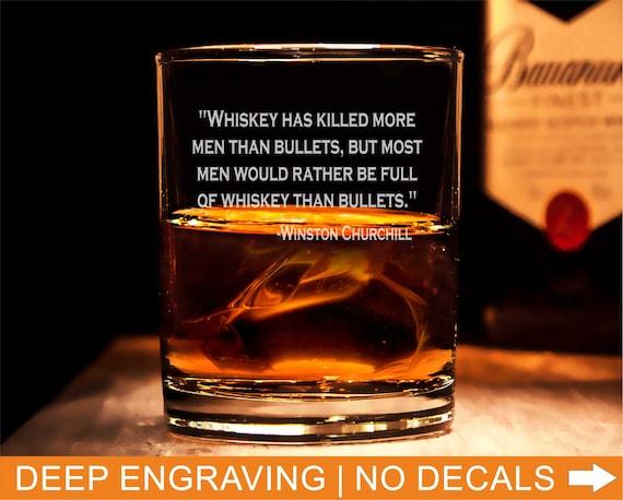 Winston Churchill Quote Rocks Glasses Engraved Glass