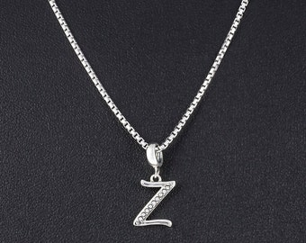 Letter Z Necklace - Personalized Jewelry Gift for Her - Silver Letter Z Initial Necklace Jewelry