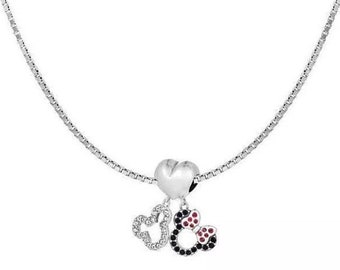f506943d49 Disney Mickey Minnie Charm Necklace - Friendship Necklace - Mickey and  Minnie Mouse Pendant Necklace - Sterling Silver Charm Necklace