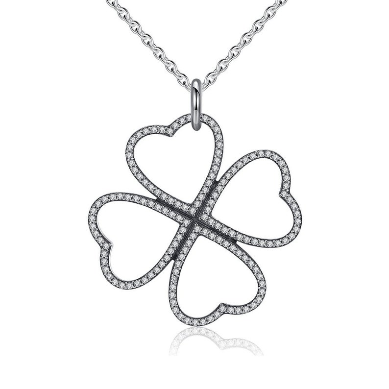 246e1183d05e6 Clover Necklace - Petals Of Love Silver Necklace - Thin small necklace -  Lucky 4 Leaf Clover Pendant - Minimal shamrock Necklace