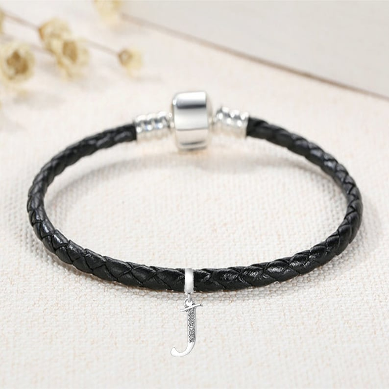 52222f35607ea Charm Bracelet Leather and Silver with Letter 'J' Charm - Black Leather  Initial Bracelet for Women - Personalised Gift For Her