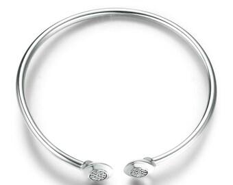 Open Cuff Bangle Bracelet - Skinny Cuff Bracelet - Delicate Bracelet Silver Bangle - Jewellery Gift for Her - Modern Bracelet