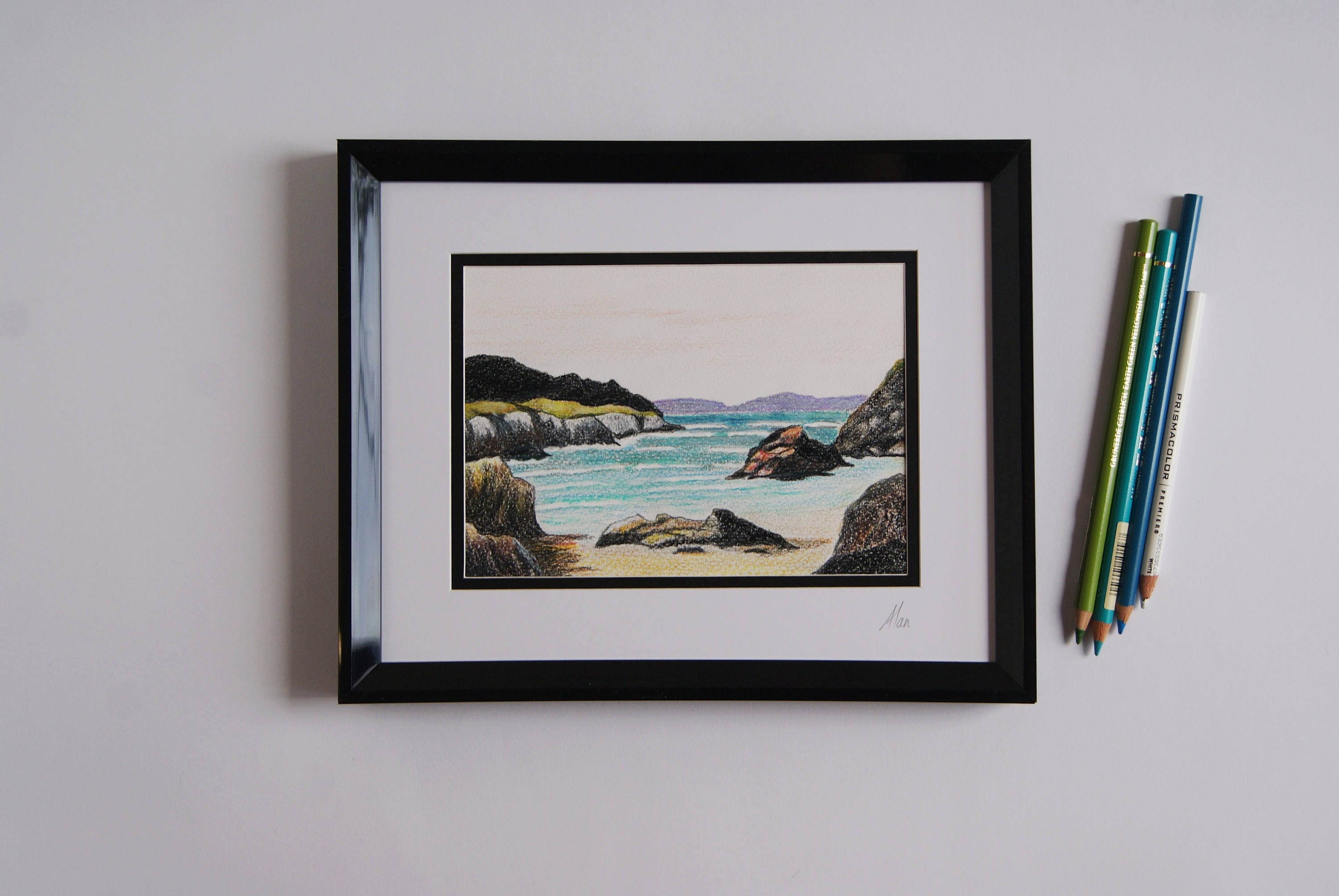 Original framed ocean drawing unique seascape pencil drawing small art