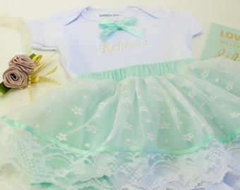 Mint Lace Skirt Keepsake Bodysuit Embroidery Name