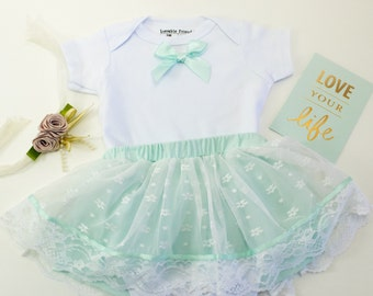 Baby Girl Mint Lace Skirt Keepsake Bodysuit Romper