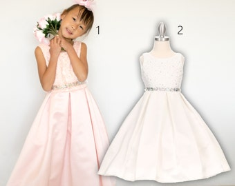 Bridal Satin Lace Dress, white pink, wedding flower girl baptism christening communion pageant