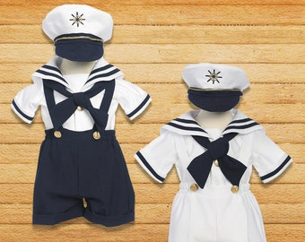 Toddlers Boy Nautical Marine Sailor Shorts Suit Costume with Hat, Birthday Halloween