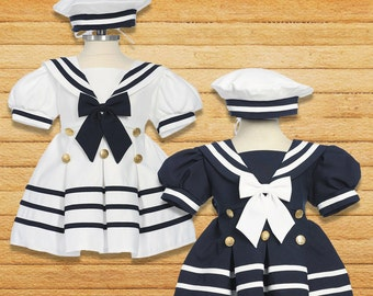 Baby to Little Girls Nautical Marine Sailor Dress Costume with Hat, Halloween Birthday, Size 6 months - 4T