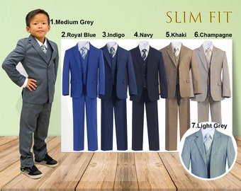 Slim Fit Premium Boys 7-Piece Suit Tuxedo, Gray, Navy, Indigo Marine Blue, Royal Blue, Khaki, Champagne, Wedding Ring Bearer Homecoming Prom
