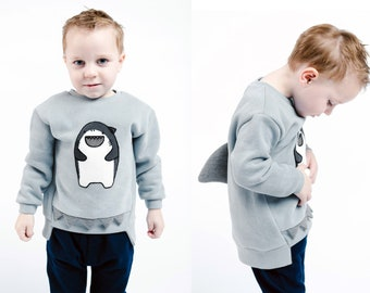 Boy Cute Gray Shark Crew Neck Sweater with 3D Fin and Jaws, Party School Casual Animal