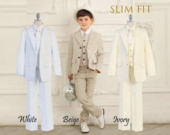 Boy White COMMUNION BAPTISM Suit Tuxedo Party Wedding 5 piece Sizes ..1-10