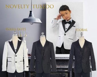 Slim Fit Fancy Novelty Boys 3-Piece Tuxedo Suit, Black White, Polka Dot, Floral Jacquard, Wedding, Ring Bearer