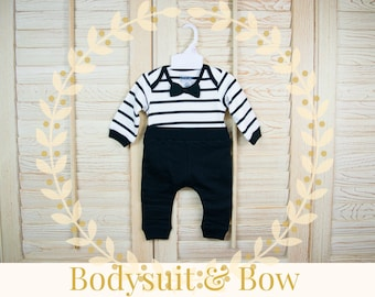 Babies 100% Cotton bodysuit and Black Biker Jogger 2-Piece Set, Black and White Stripes, Bow Tie, Pull-On Pants