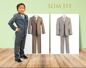 Little to Big Boy Slim Fit Premium 7-Piece American Suit Tuxedo, Gray, Khaki, Champagne, Wedding Ring Bearer, Prom, Size 1-18