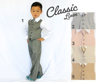 Toddlers and Boys Linen Vest 4-Piece Set Gray, Blush Pink, Beige Cream, Khaki Brown, Baptism Christening Wedding Ring Bearer