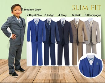 Slim Fit Premium Boys 7-Piece Suit Tuxedo, Gray Navy Indigo Royal Blue Khaki Champagne, Wedding Ring Bearer Homecoming Prom