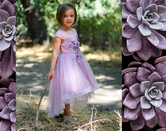 Girl Premium Lilac Lavender Purple Flower Lace Tulle Hi-Low Dress Gown, Pageant Wedding Party