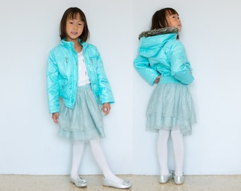 Girl Hooded Puffer Jacket, sky blue, pockets, fur