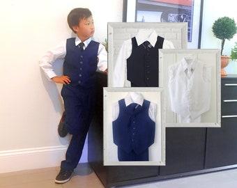 Boys Vest Suit White Shirt 4-Piece Set, Indigo, Black, White, Baptism Christening Wedding Ring Bearer, Size 1-12