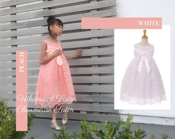 Girl Whimsical Lace and Charmeuse Satin Bow, Empire Waist Tea Length Dress, Wedding Flower Girl Birthday Party Communion, Blush Peach, White