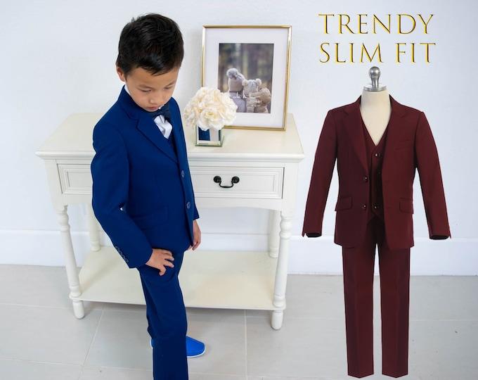 Featured listing image: Slim Fit Premium Boys 3-Piece Suit Tuxedo, Trendy Color Indigo Blue, Burgundy Maroon, Wedding, Ring Bearer, Communion, Formal