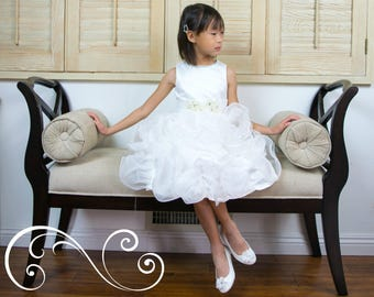 Girl Premium Satin Organza Pearl Bow Tea Length White Dress Ball Gown, Pageant, Wedding Flower Girl, Baptism, Christening, Communion, Party