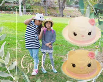 Girl Straw Cat Bowler Hat White Brown