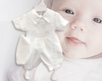 259ff876eda85 Baby Boy Heirloom Quality Baptism Christening White Suspenders & Shorts  5-piece Set with Beret Hat, Short Sleeves, Sequins Lace Scarf, 0-24M