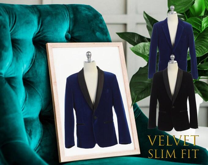 Featured listing image: Slim Fit Boys Premium Luxurious Velvet Blazer Coat Black Satin Shawl Lapel, Indigo Marine Blue, Suit Tuxedo, Wedding, Ring Bearer