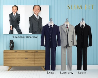 Slim Fit Boys 5-Piece Suit Tuxedo, Dark Gray Charcoal, Light Gray, Navy, Black, Wedding, Ring Bearer, Communion, Homecoming