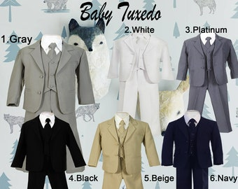 Baby Toddler 5-Piece Suit, Jacket Vest Shirt Tie Pants, Gray Black White Navy Beige, Baptism Christening Wedding Birthday