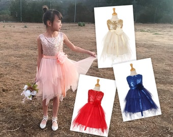 Toddler to Big Girl Sparkle Sequins Sleeveless layered Mesh Fairy Fantasy Dress, Wedding Flower Girl Birthday Party, Peach Gold Red Indigo