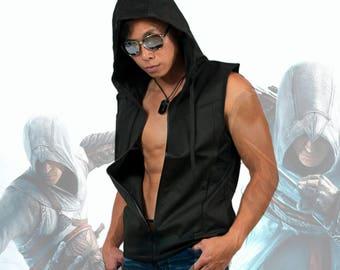 Men Premium Tech Knit Zip Up Sleeveless Vest Hoodie Cotton Poly Slim Fit Casual Sports Active-wear Black