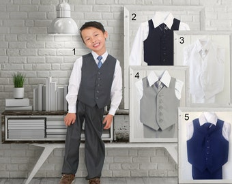 Toddlers and Boys Grey White Black Indigo Marine Blue Vest 4-Piece Suit, with Shirt Pants Tie, Baptism Christening Wedding Ring Bearer
