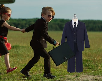 Little to Big Boy 5-Piece Suit Tuxedo, Black, Navy, Wedding Ring Bearer, Baptism, Size 6 months - 20