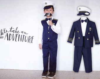 Boys Nautical Marine Captain 5 pieces Suit with Navy Jacket or Vest, Pants, White Shirt, Cap, Bow Tie, Birthday Party, Wedding, Photo Shoot