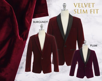 Slim Fit Boys Premium Luxurious Velvet Blazer Coat Black Satin Shawl Lapel, Burgundy Wine Maroon, Plum, Suit Tuxedo, Wedding, Ring Bearer