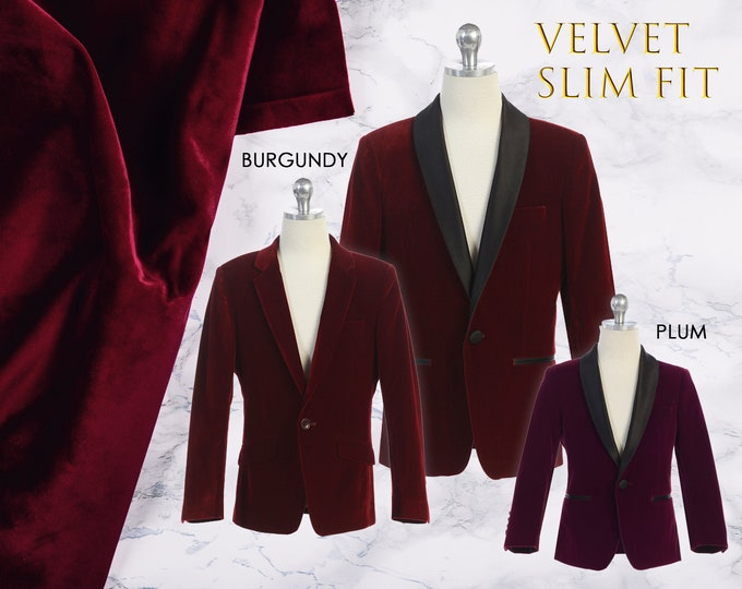 Featured listing image: Slim Fit Boys Premium Luxurious Velvet Blazer Coat Black Satin Shawl Lapel, Burgundy Wine Maroon, Plum, Suit Tuxedo, Wedding, Ring Bearer