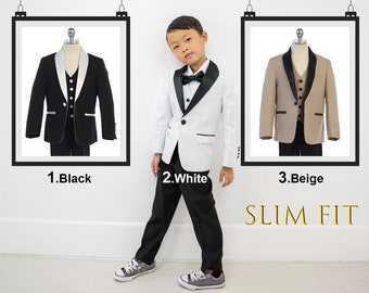 Slim Fit Premium Boys 3-Piece Suit Tuxedo Contrast Satin Shawl Lapel, White, Black, Khaki, Wedding, Ring Bearer, Birthday, Party