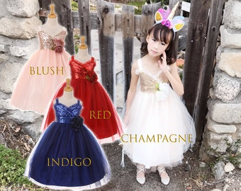 Toddler to Big Girl Sparkle Sequins Sleeveless Tea Length Dress, Wedding Flower Girl Birthday, Blush Pink, Champagne Ivory, Red, Indigo Blue