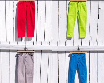 Color Pop Jeans (Red Green Gray Blue)