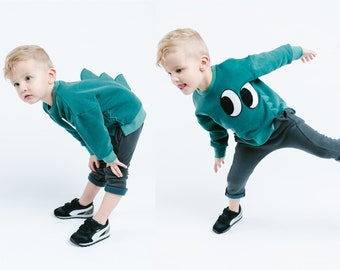 Boy Cute Green Dino Monster Crew Neck Sweater with Eyes and Dinosaur Spikes, Party School Casual Animal