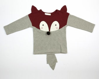 Boy Cute Fox Crew Neck Sweater with 3D Ears, Nose and Tail, Burgundy and Gray, Party School Casual Animal