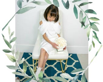 Toddler to Girl Drop Shoulder White Draped Dress, Wedding Flower Girl, Christening, Confirmation, Baptism, Party, Special Occasion