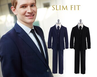 Little to Big Boy Slim Fit Premium 5-Piece Suit Tuxedo, Black, Navy, Wedding Ring Bearer, Homecoming, Prom, Size 1-20