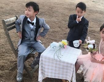 Little to Big Boy Slim Fit Premium 7-Piece Suit Tuxedo Black Satin Shawl Lapel, Light Grey, Charcoal, Wedding Ring Bearer, Prom, Size 1-18
