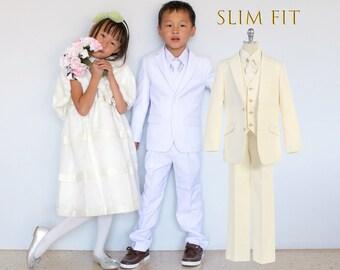 Little to Big Boy Slim Fit Premium 5-Piece Suit Tuxedo, White, Ivory, Wedding Ring Bearer, Christening, Size 1-20